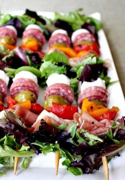 antipasto salad kabobs are a fun appetizer for parties