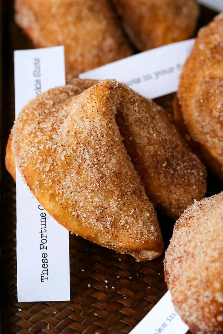 homemade fortune cookie recipes coated with cinnamon sugar