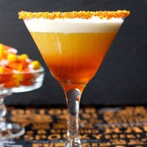 Candy Corn Martini | Creamy, Layered Halloween Martini Recipe