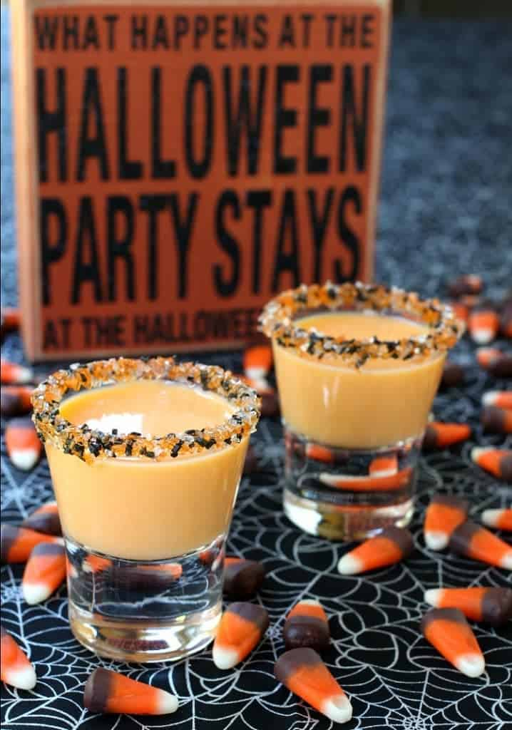 These Pumpkin Pie Shots are going to be the star of your Halloween party!