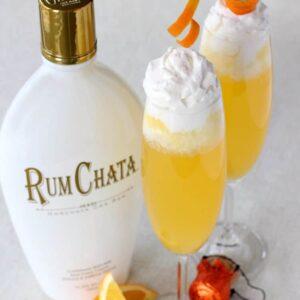 RumChata Creamsicle Champagne adding garnish