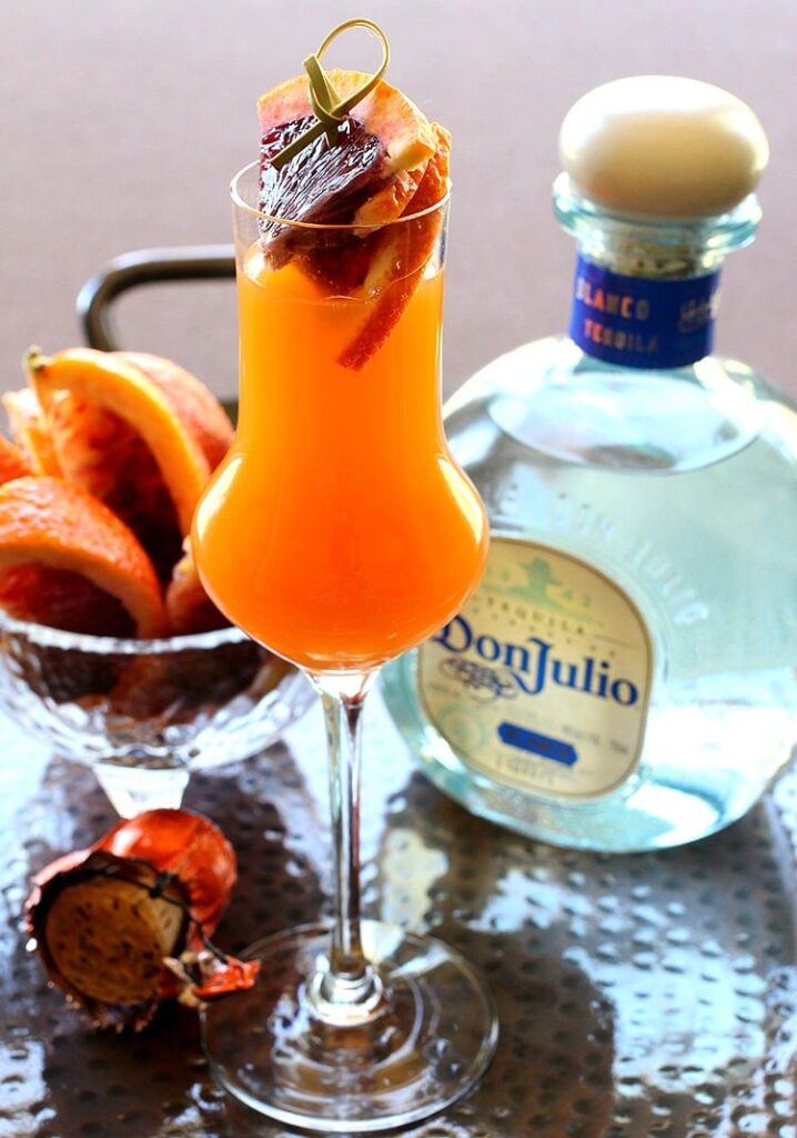 Blood Orange Mimosa is a mimosa recipe with tequila and blood orange juice