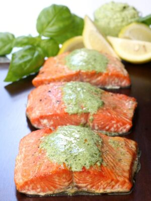 Cedar Plank Salmon with Basil Cream Sauce