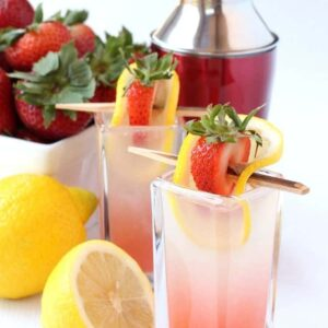 Spiked Strawberry Lemonade Shots are a sweet shot recipe made with vodka