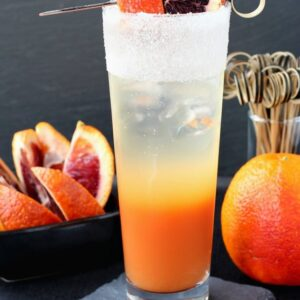 This Blood Orange Gin Cooler has fresh blood orange juice and a splash of seltzer!