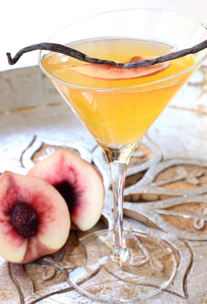 Vanilla Peach Cosmopolitan is a martini recipe with vodka and peach flavors
