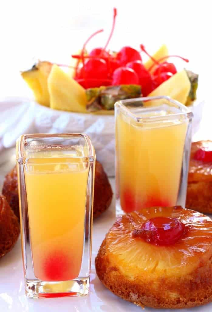 These Pineapple Upside Down Shots are boozy and tasty!