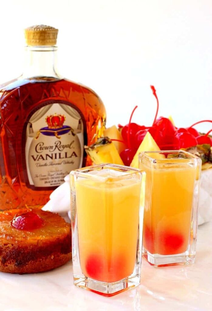 These Pineapple Upside Down Shots taste just like the dessert!