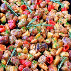 Sheet Pan Chicken Murphy is a one pan chicken diner recipe tossed in gravy