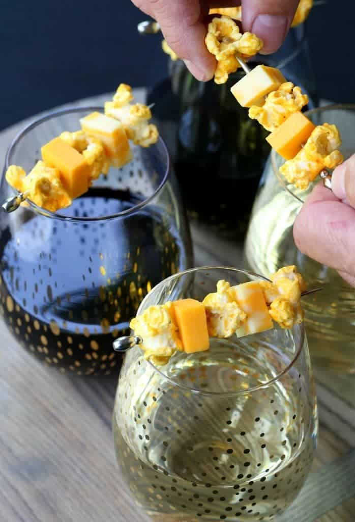 These Popcorn and Cheese Wine Kabobs are going to be a hit at your next party!