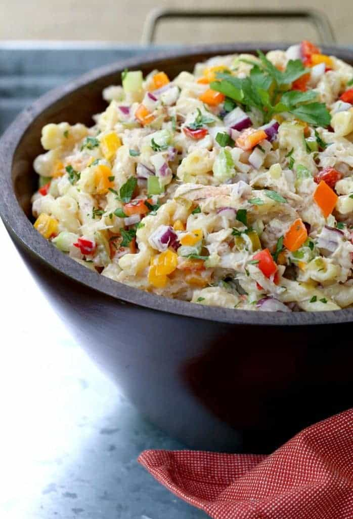 Crab Cake Pasta Salad is a pasta salad recipe that can be a side dish or the main course