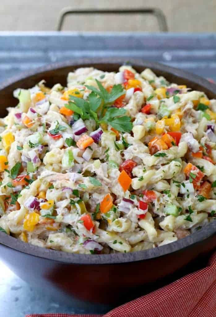 Crab Cake Pasta Salad is a side dish recipe for barbecues or picnics