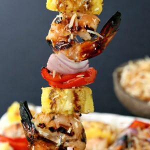 Pina Colada Shrimp Kabobs for your next BBQ!