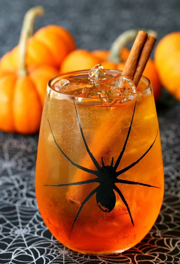This pumpkin Spiced Wine Spritzer will keep you in the Halloween mood!