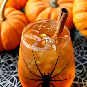 This pumpkin Spiced Wine Spritzer is the perfect Halloween party cocktail!