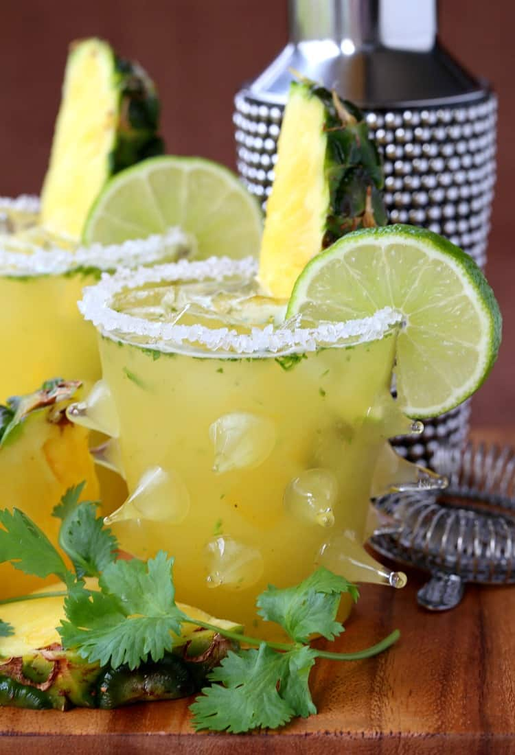 This Spicy Pineapple Cilantro Margarita has a little heat, but a little sweet too!