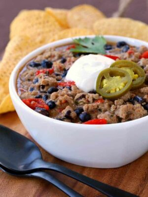 This White Turkey Ranch Chili can be eaten as is or, as our kids like, spooned up with chips!