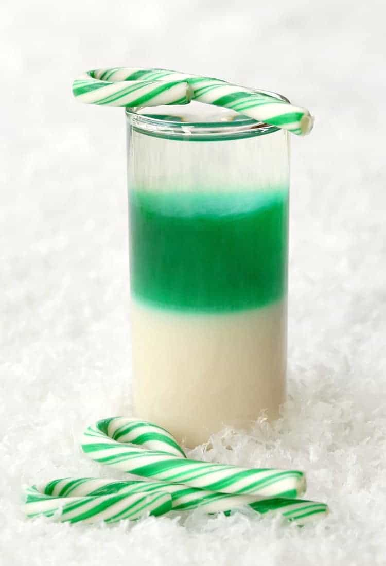 Layered Candy Cane Shots are a layered shot recipe for the holidays