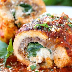 Sausage Stuffed Chicken Rollatini is a chicken breast stuffed with sausage and cheese