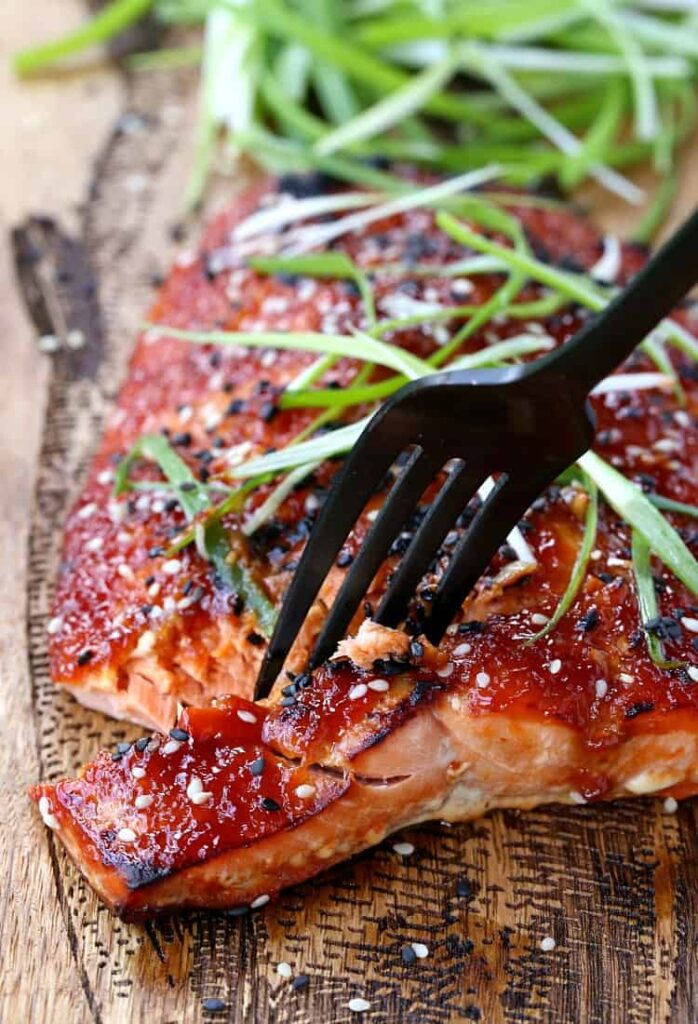 Baked Asian BBQ Salmon is an oven baked salmon recipe with bbq sauce