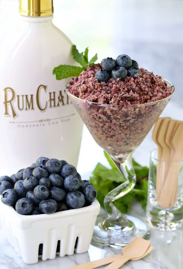 RumChata Fresh Blueberry Granita is an Italian based dessert that's made with fresh fruit and semi-frozen for texture