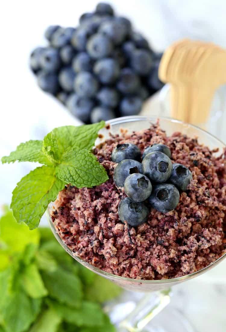 This RumChata Fresh Blueberry Granita is a semi-frozen dessert flavored with RumChata