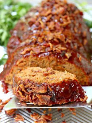 Tasty AF Turkey Meatloaf (TAFTM) slice on a spatula