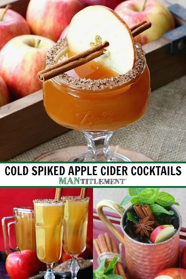 cold spiked apple cider cocktails collage for pinterest