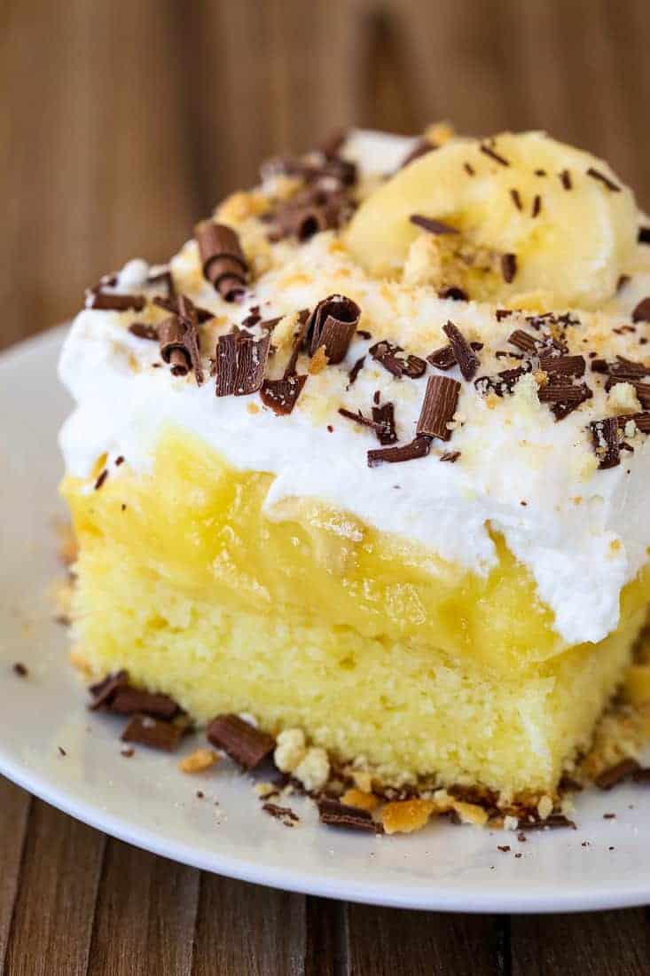 Banana Bourbon Poke Cake is an easy poke cake recipe with bananas and bourbon