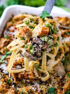 Leftover Turkey Tetrazzini is a leftover turkey recipe baked into a pasta casserole