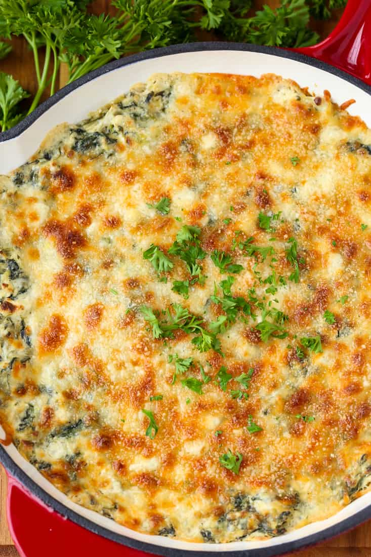 Skillet Spinach Artichoke Dip is a hot spinach dip recipe topped with cheese