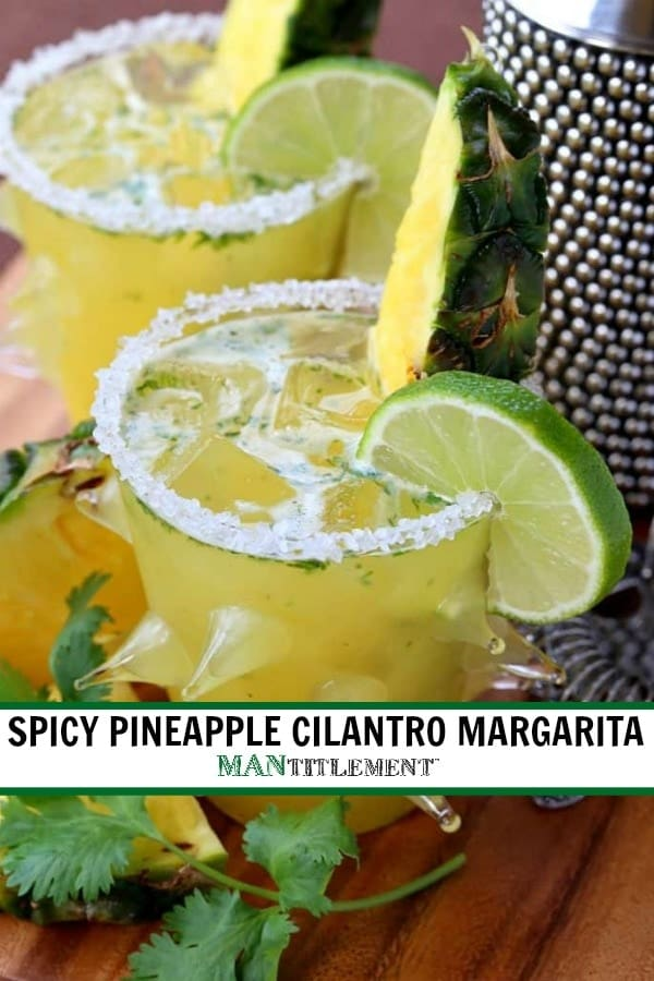 Spicy Pineapple Cilantro Margarita picture with text for Pinterest