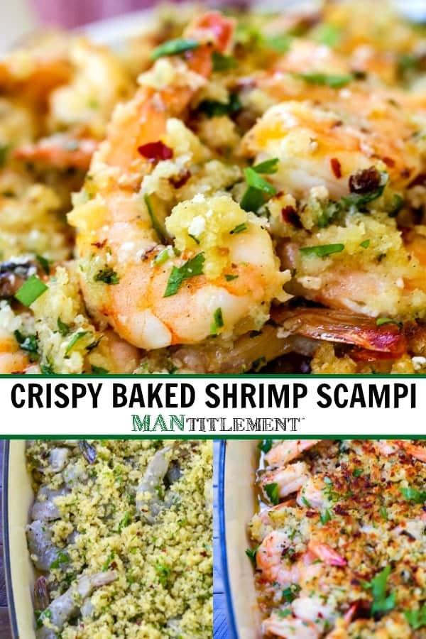crispy baked shrimp scampi recipe collage for pinterest