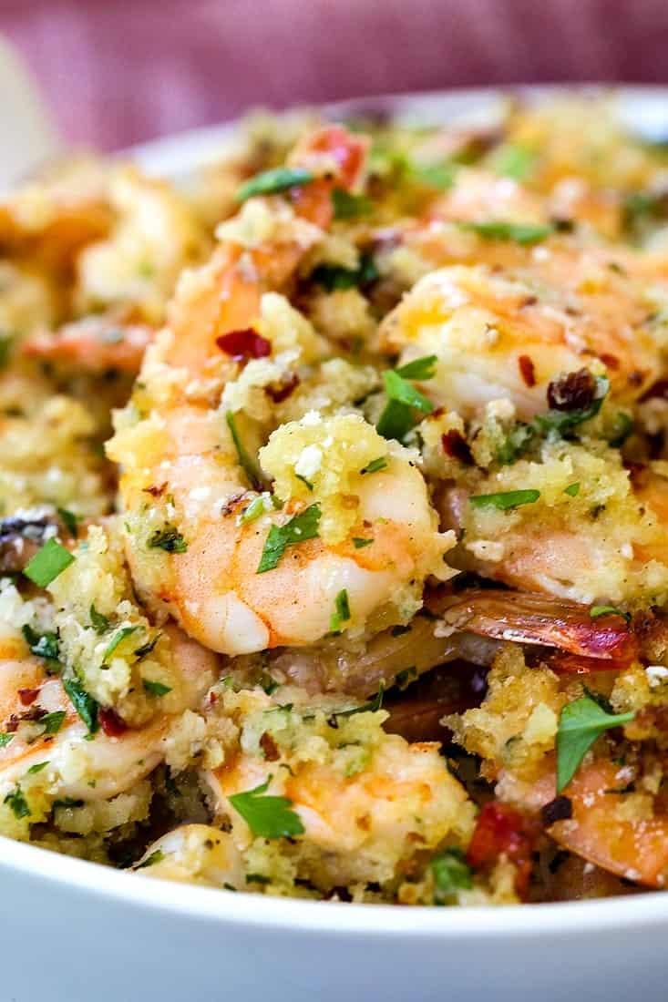 shrimp scampi with a close up of a shrimp