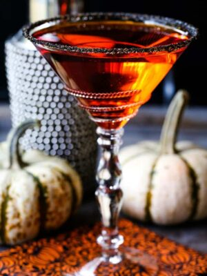 pumpkin drop martini in a sugar rimmed glass