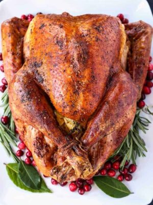 whole roast turkey on a white platter