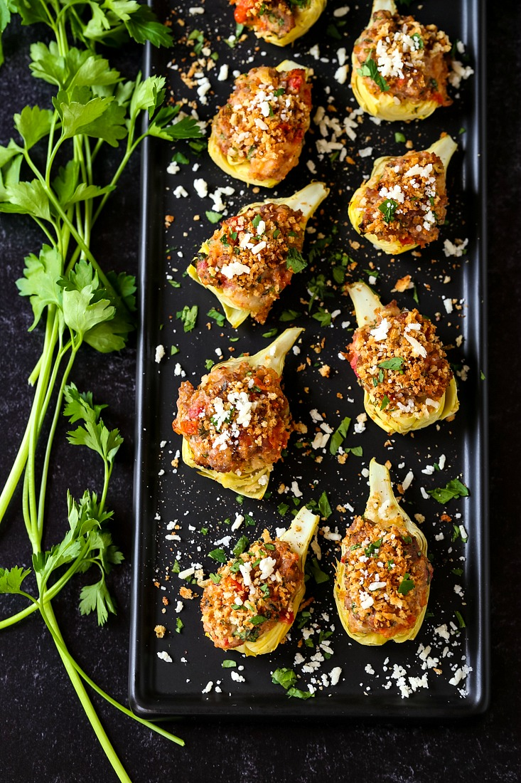 Stuffed artichoke hearts with sausage and cheese