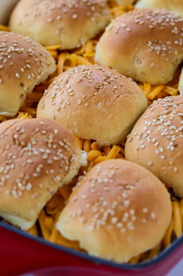 Casserole recipe with mini slider buns on top