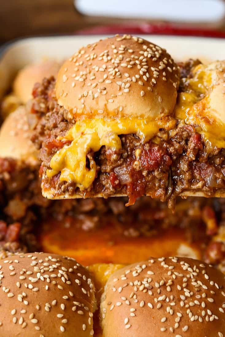 Cheeseburger Casserole recipe is a ground beef filling topped with buns