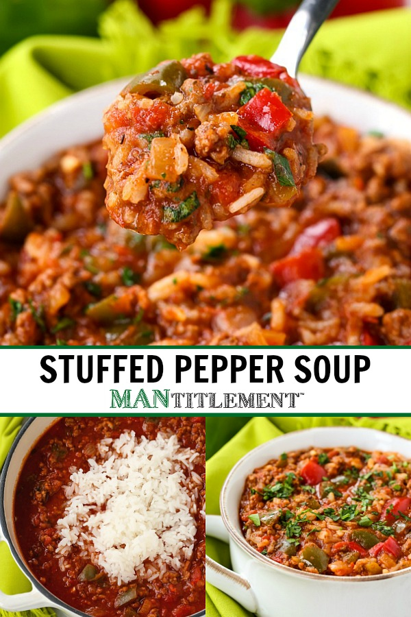 stuffed pepper soup collage for pinterest