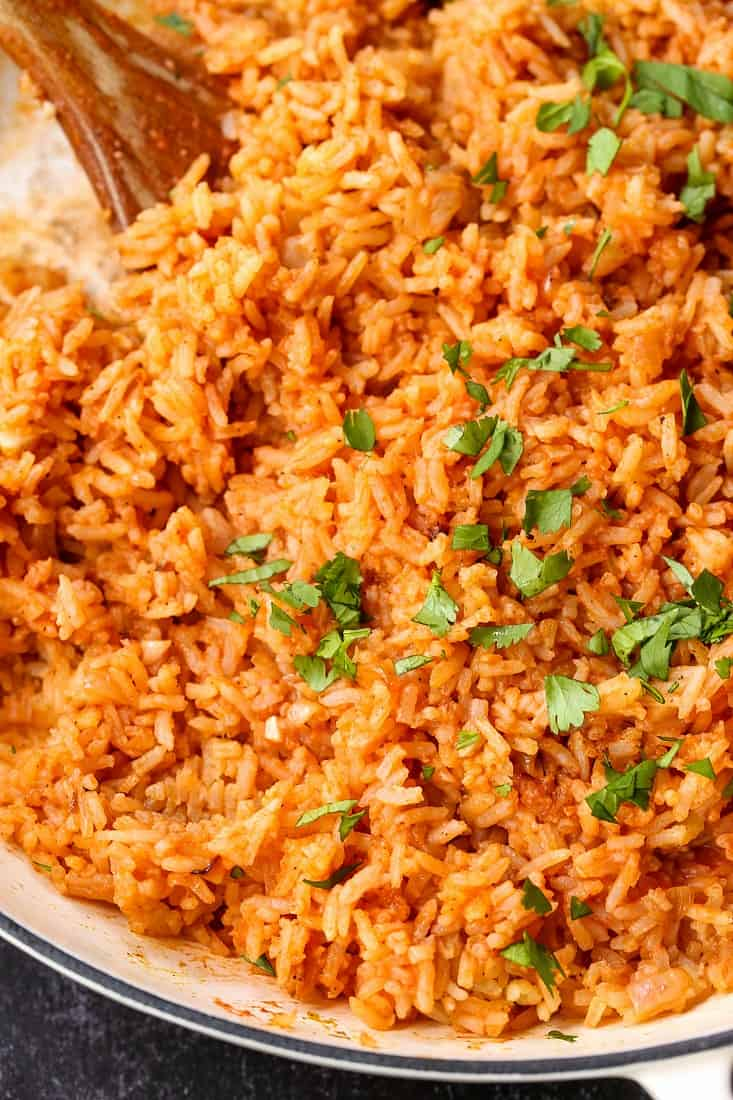 Perfect Spanish Rice Recipe with chopped cilantro