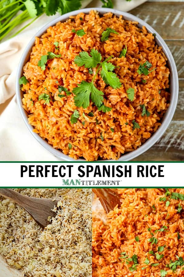 perfect spanish rice recipe collage for pinterest